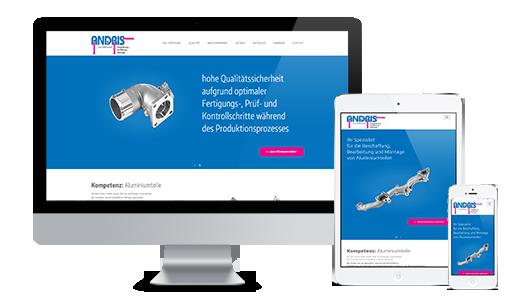 Mockup der Webseite von Rolf Andris GmbH